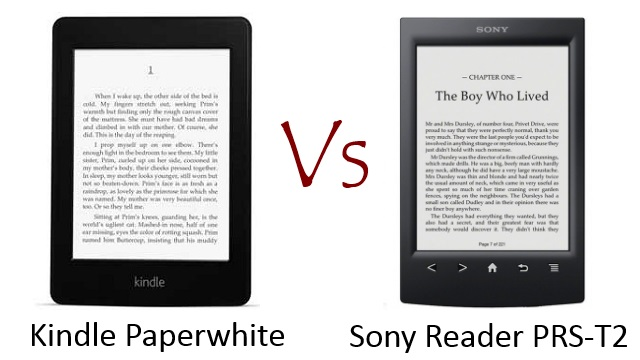 Kindle Paperwhite vs Sony Reader PRS-T2